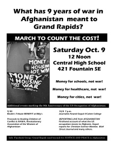 Anti-War March this Saturday on the 9th anniversary of the US Occupation of Afghanistan