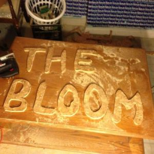 the Bloom's new sign, in progress
