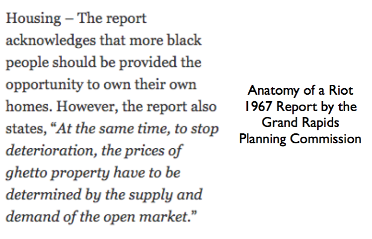 ... Can Read At This Link. It Is Interesting That The Report Suggests That  The Market Should Determine Housing Outcomes For The African American  Community.