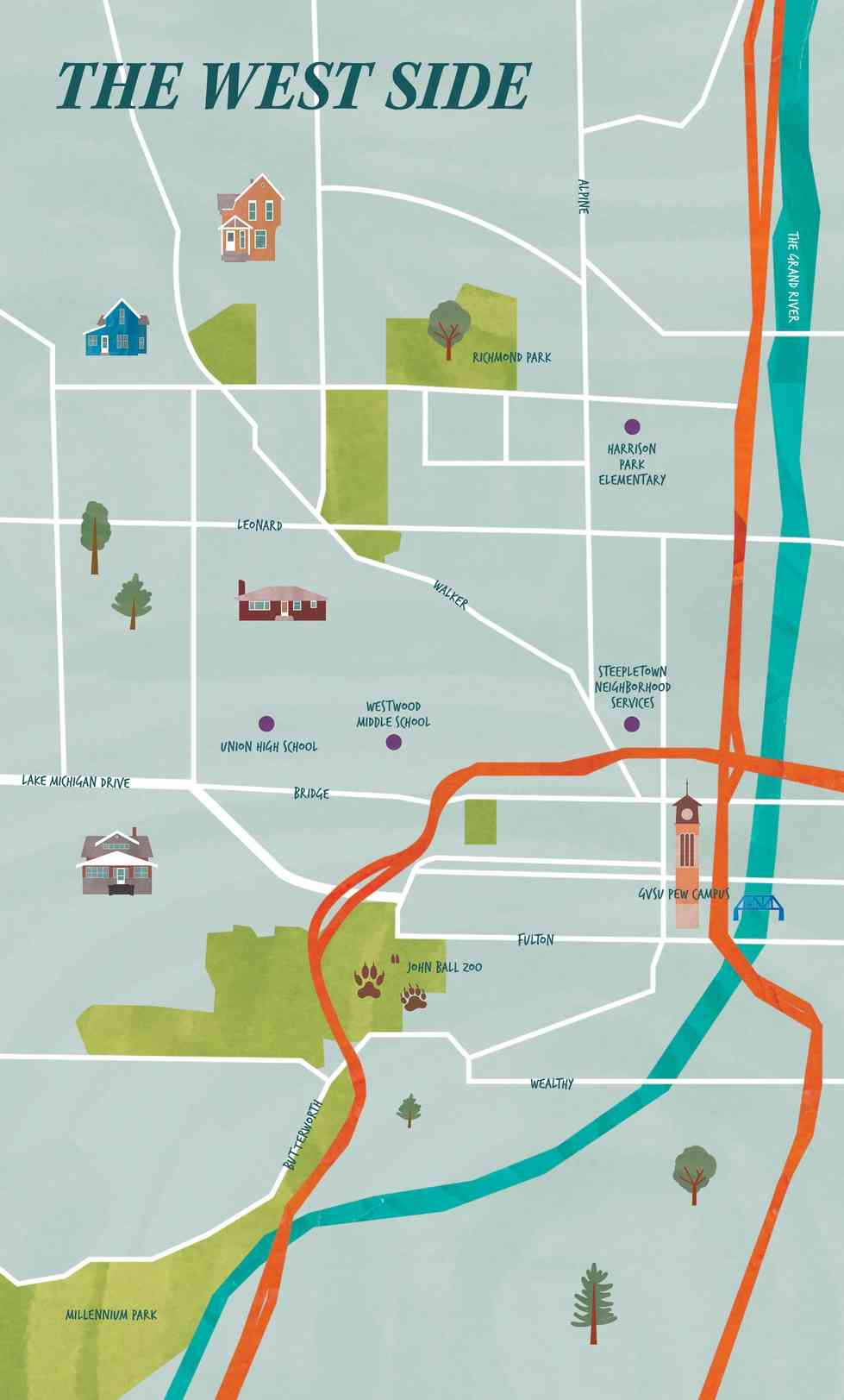Grand Valley Pew Campus Map.Gvsu Magazine The Westside And Gentrification Grand Rapids