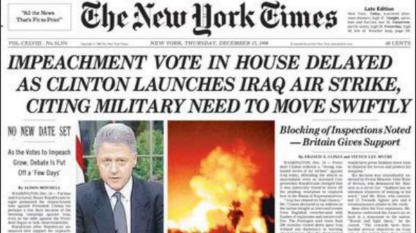 Image result for clinton bombs iraq newspaper images