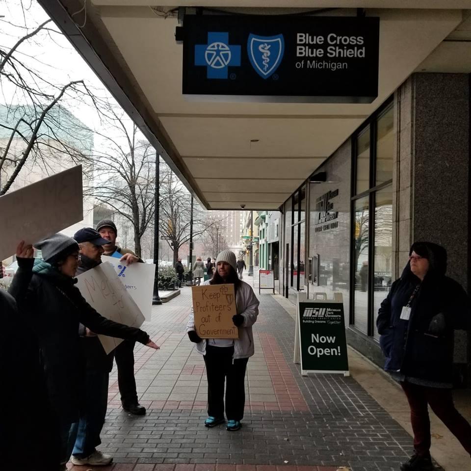 Demonstration outside Blue Cross/Blue Shield office in